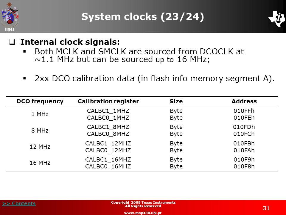 UBI >> Contents 31 Copyright 2009 Texas Instruments All Rights Reserved www.msp430.ubi.pt System clocks (23/24) Internal clock signals: Both MCLK and