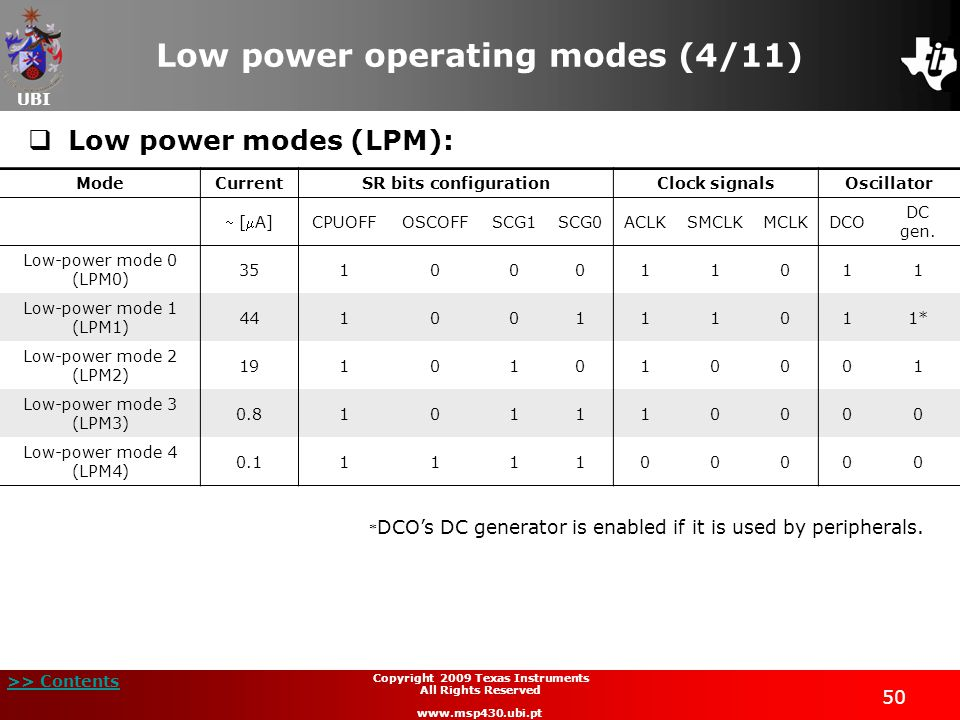 UBI >> Contents 50 Copyright 2009 Texas Instruments All Rights Reserved www.msp430.ubi.pt Low power operating modes (4/11) Low power modes (LPM): Mode