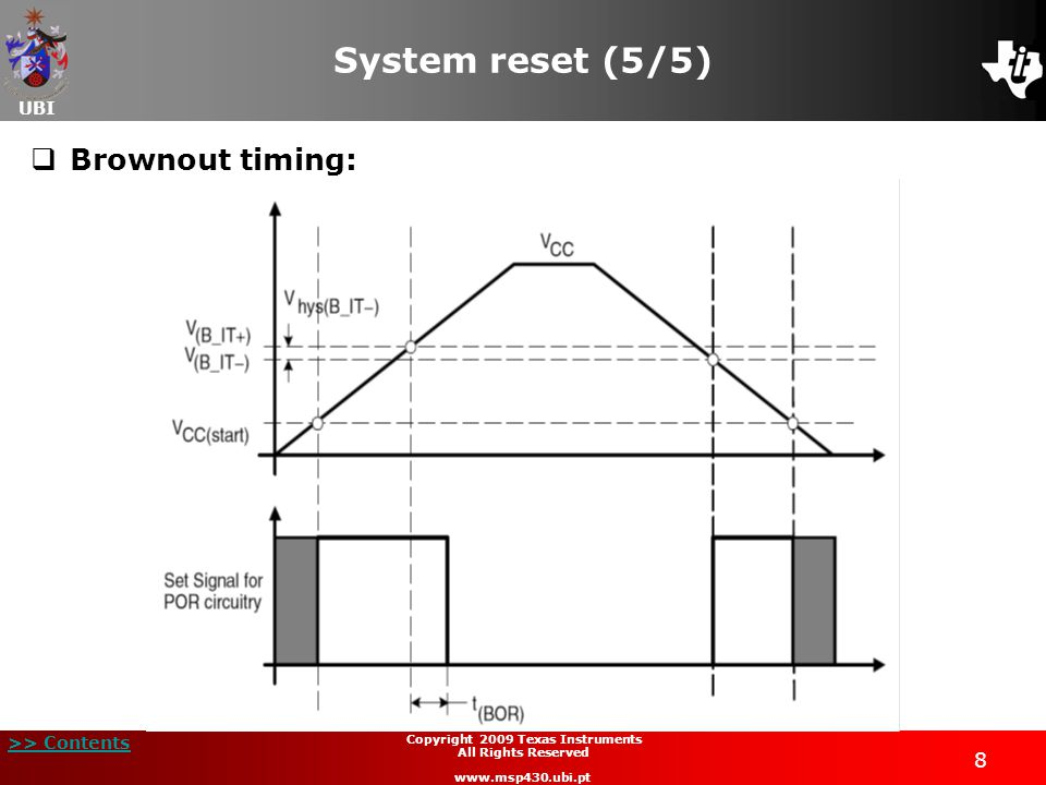 UBI >> Contents 8 Copyright 2009 Texas Instruments All Rights Reserved www.msp430.ubi.pt System reset (5/5) Brownout timing: