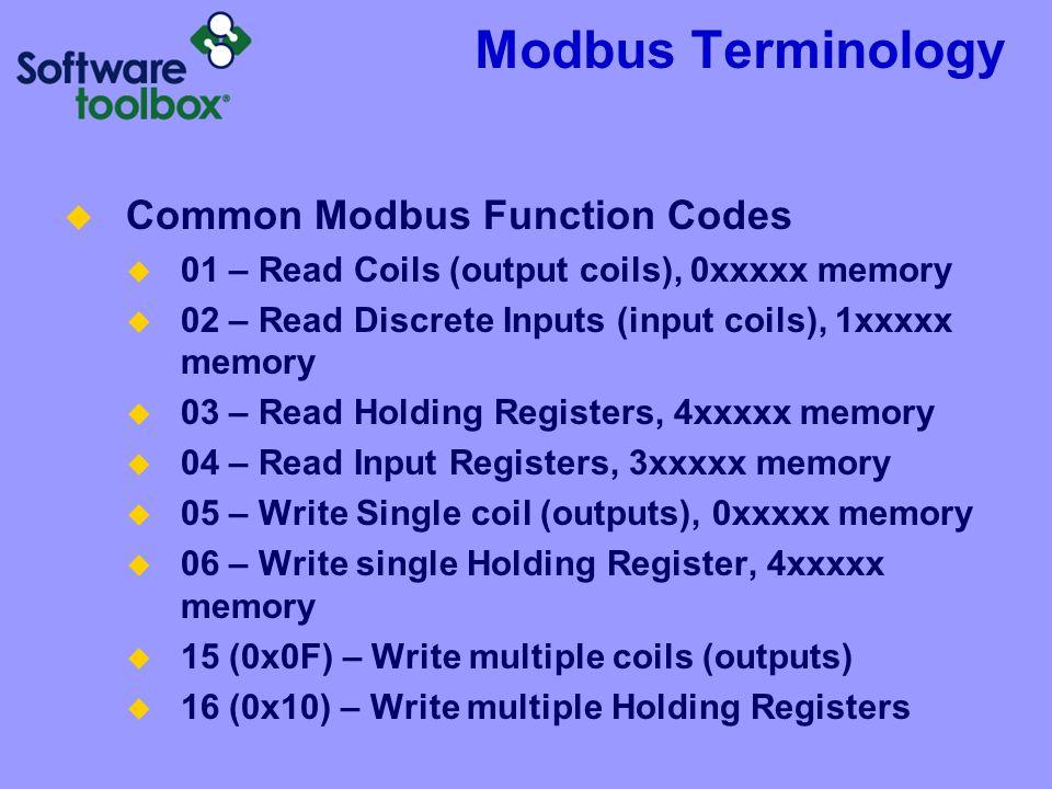 Modbus Terminology Common Modbus Function Codes 01 – Read Coils (output coils), 0xxxxx memory 02 – Read Discrete Inputs (input coils), 1xxxxx memory 0