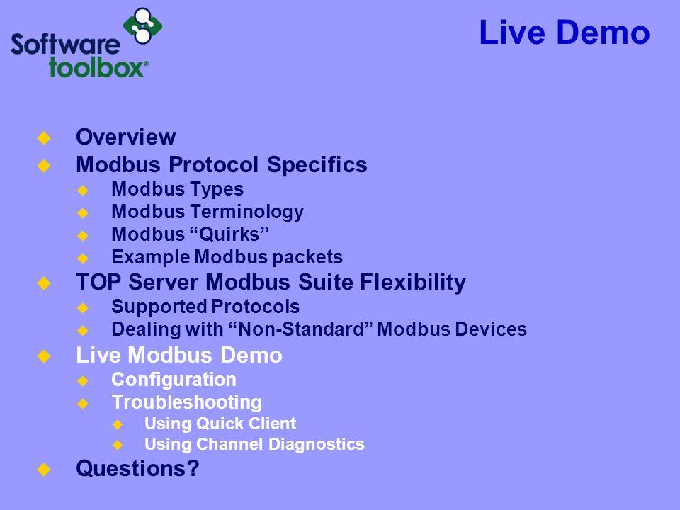 Live Demo Overview Modbus Protocol Specifics Modbus Types Modbus Terminology Modbus Quirks Example Modbus packets TOP Server Modbus Suite Flexibility