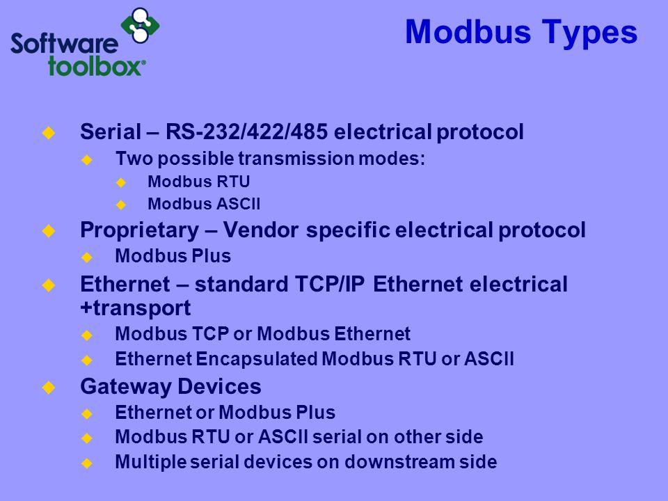 Modbus Types Serial – RS-232/422/485 electrical protocol Two possible transmission modes: Modbus RTU Modbus ASCII Proprietary – Vendor specific electr
