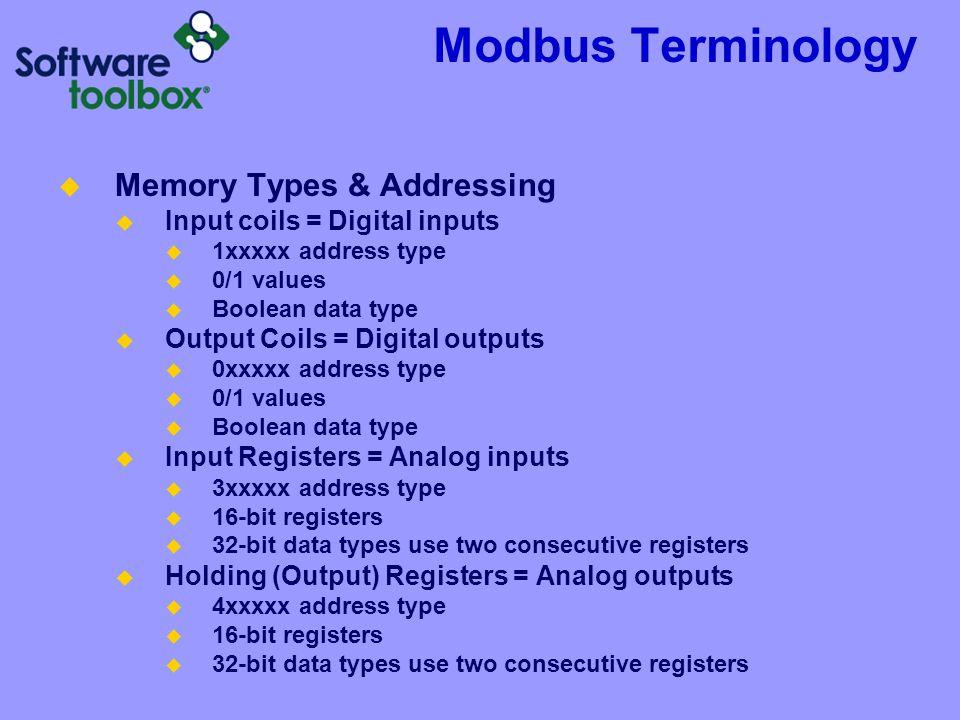 Modbus Terminology Memory Types & Addressing Input coils = Digital inputs 1xxxxx address type 0/1 values Boolean data type Output Coils = Digital outp