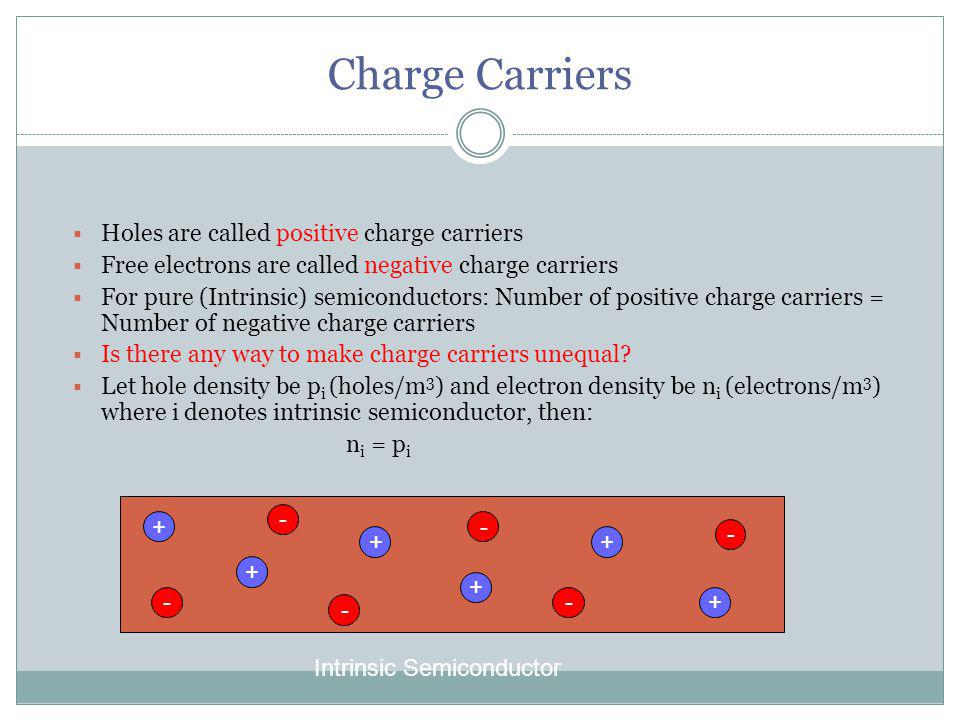 Charge Carriers Holes are called positive charge carriers Free electrons are called negative charge carriers For pure (Intrinsic) semiconductors: Number of positive charge carriers = Number of negative charge carriers Is there any way to make charge carriers unequal.