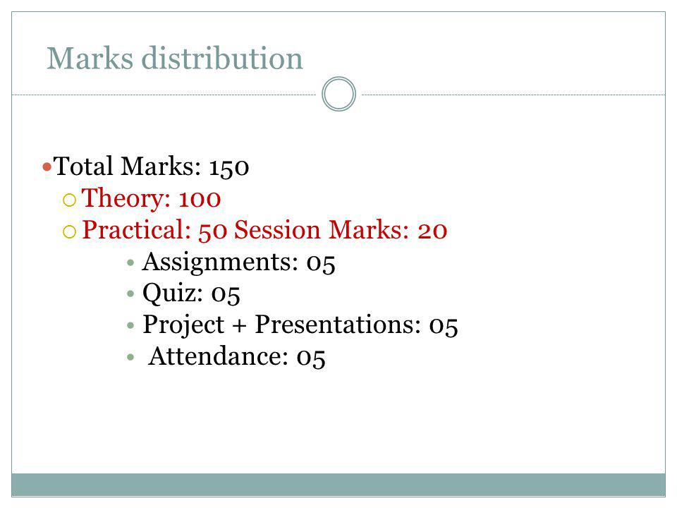 Marks distribution Total Marks: 150 Theory: 100 Practical: 50 Session Marks: 20 Assignments: 05 Quiz: 05 Project + Presentations: 05 Attendance: 05