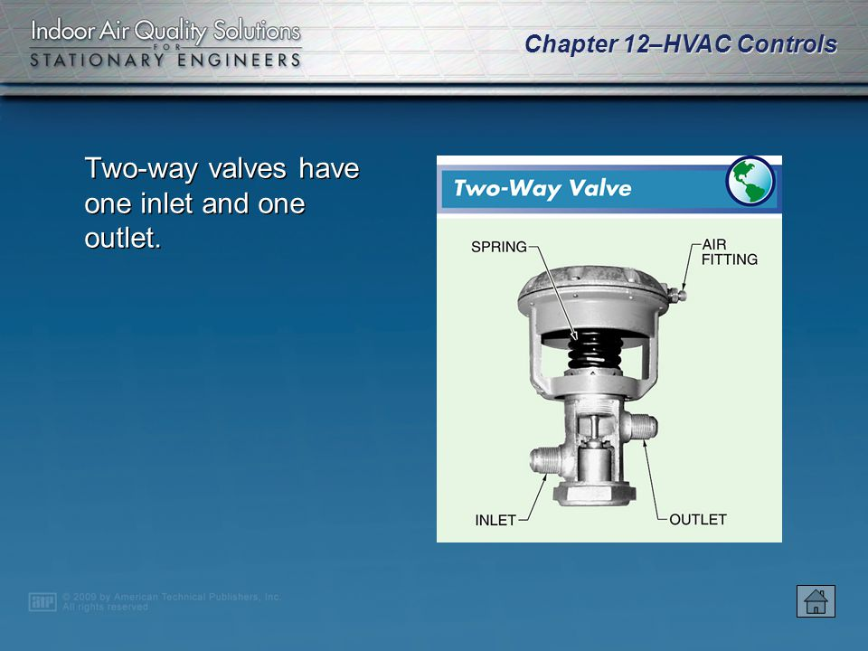 Chapter 12–HVAC Controls Control valves control the flow of fluids in an HVAC system. Control valve components include the valve body, stem, disc, pac