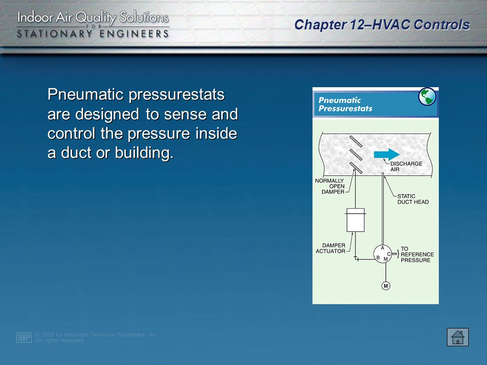 Chapter 12–HVAC Controls Pneumatic pressurestats are designed to sense and control the pressure inside a duct or building.