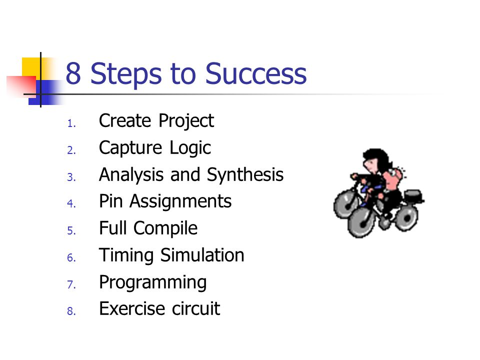 8 Steps to Success 1. Create Project 2. Capture Logic 3. Analysis and Synthesis 4. Pin Assignments 5. Full Compile 6. Timing Simulation 7. Programming