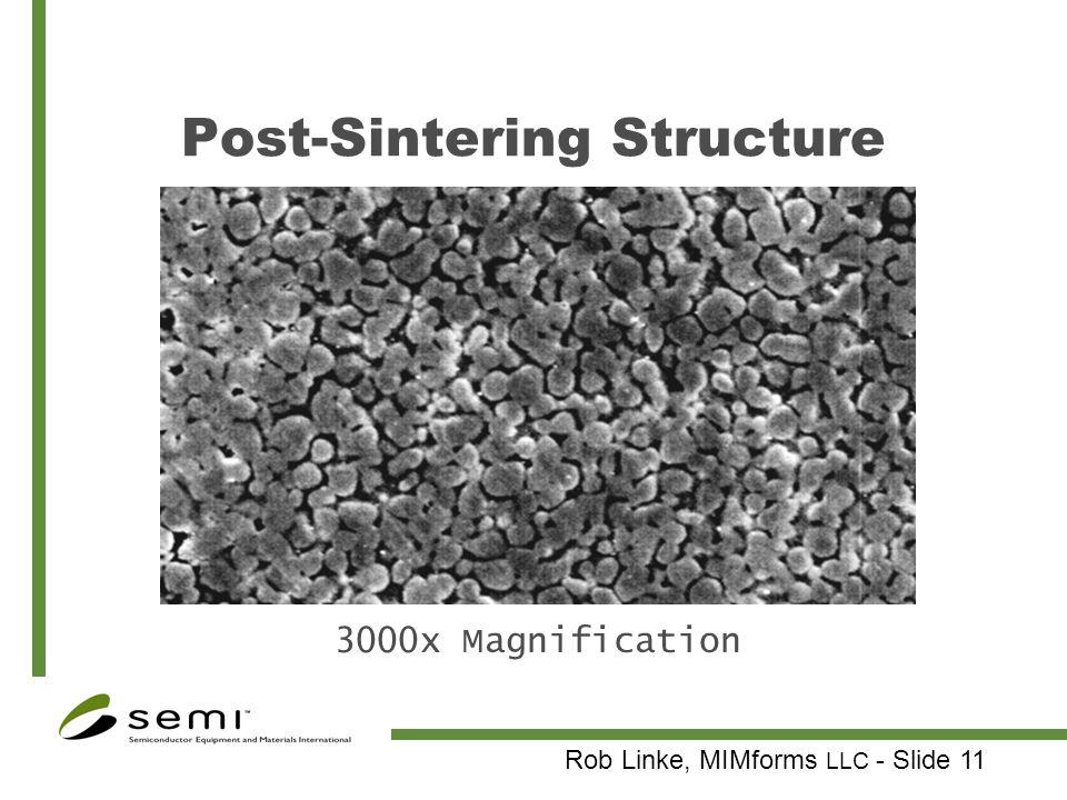 Rob Linke, MIMforms LLC - Slide 11 Post-Sintering Structure 3000x Magnification