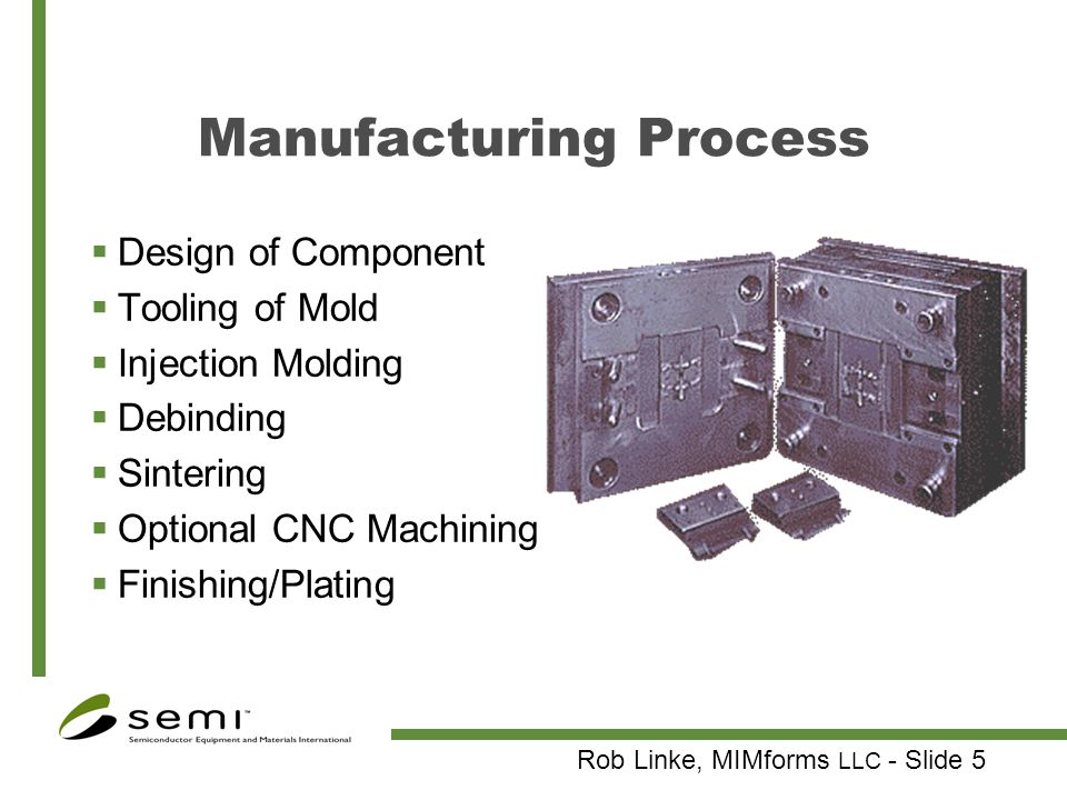 Rob Linke, MIMforms LLC - Slide 6 Compounding Components Metal powder Wax Polymers Goals Sufficient binder to fill all voids Uniform mixture Metal powder at 100x D 50 : 2-10 µm