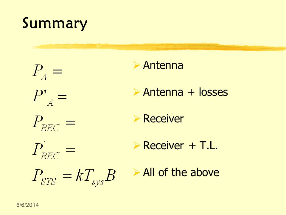 6/6/2014 Summary Antenna Antenna + losses Receiver Receiver + T.L. All of the above