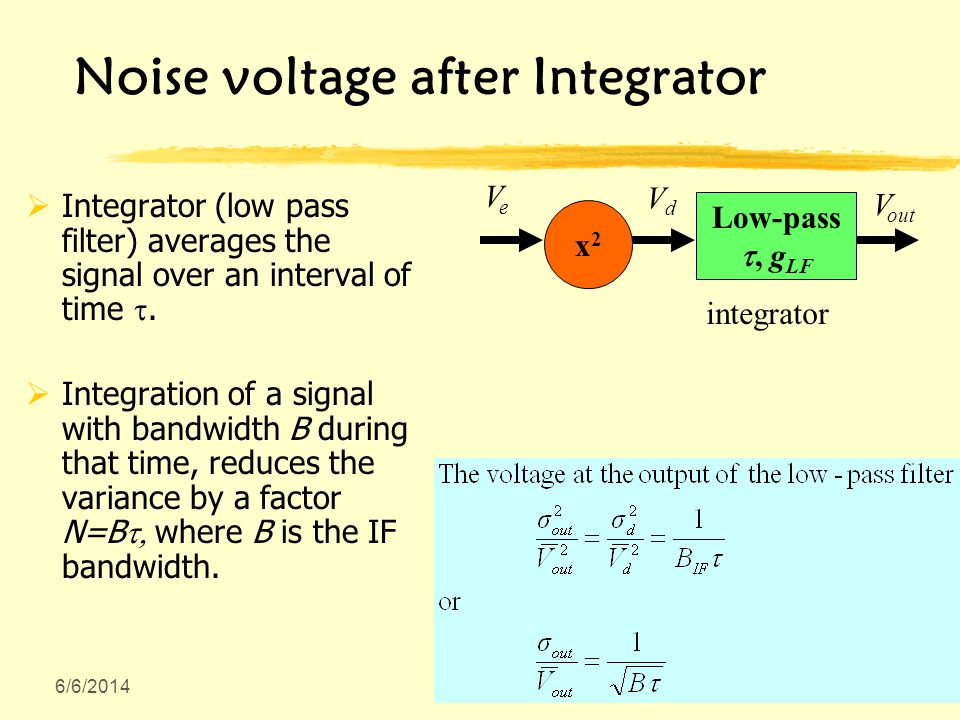 6/6/2014 Noise voltage after Integrator Integrator (low pass filter) averages the signal over an interval of time.