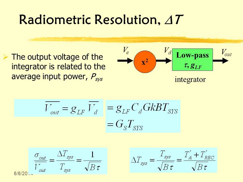 6/6/2014 Radiometric Resolution, T The output voltage of the integrator is related to the average input power, P sys x2x2 integrator Low-pass, g LF V