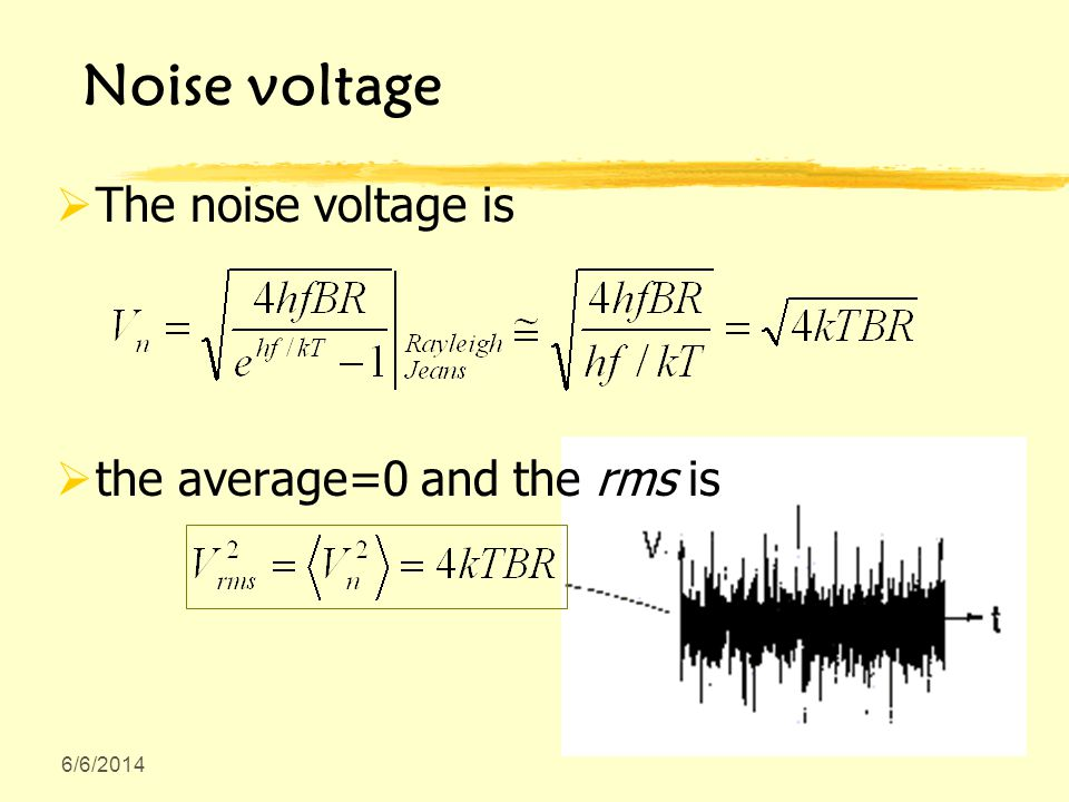 6/6/2014 Noise voltage The noise voltage is the average=0 and the rms is