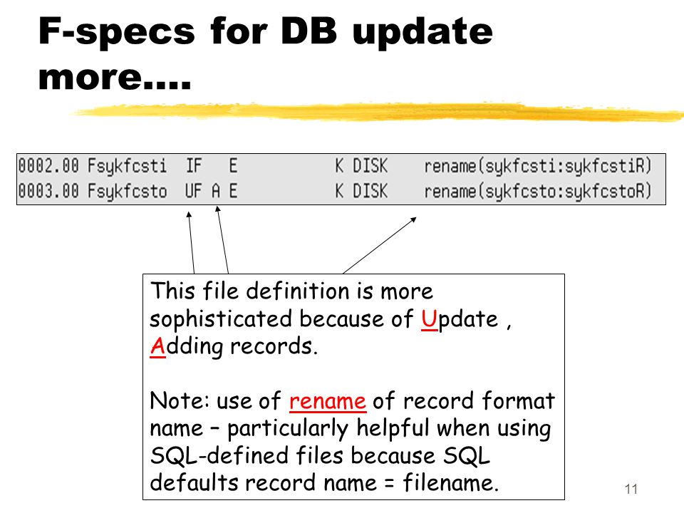 11 F-specs for DB update more….