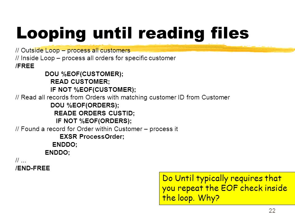 22 Do Until typically requires that you repeat the EOF check inside the loop.