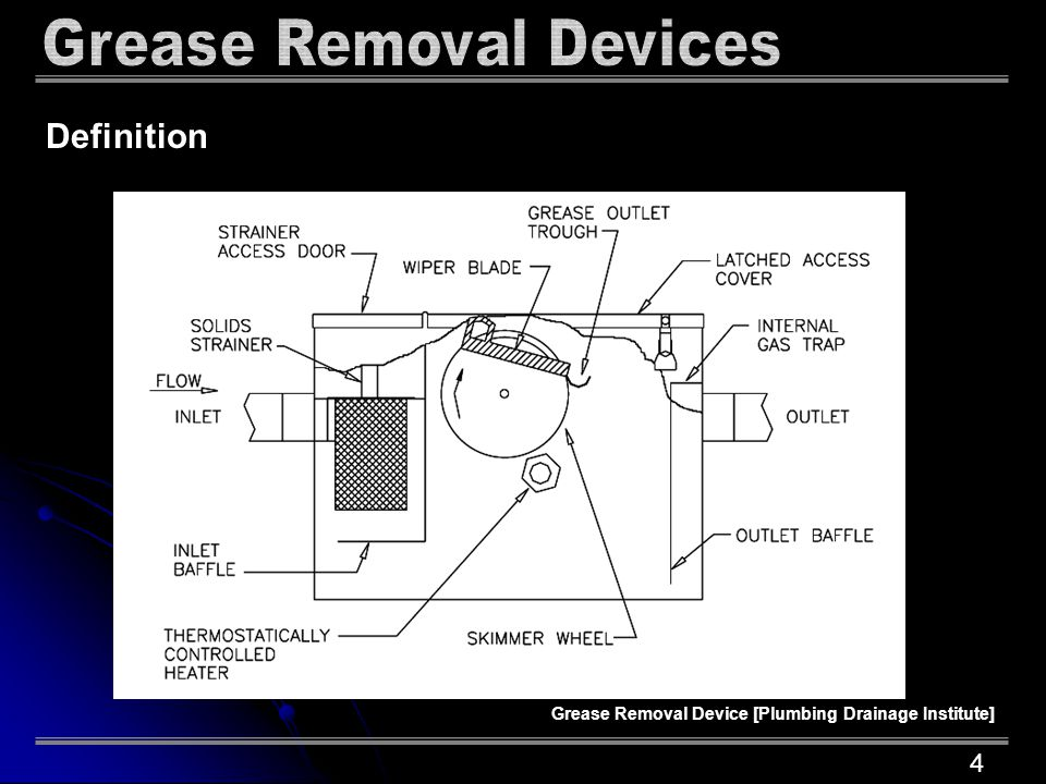 Definition Grease Removal Device [Plumbing Drainage Institute] 4