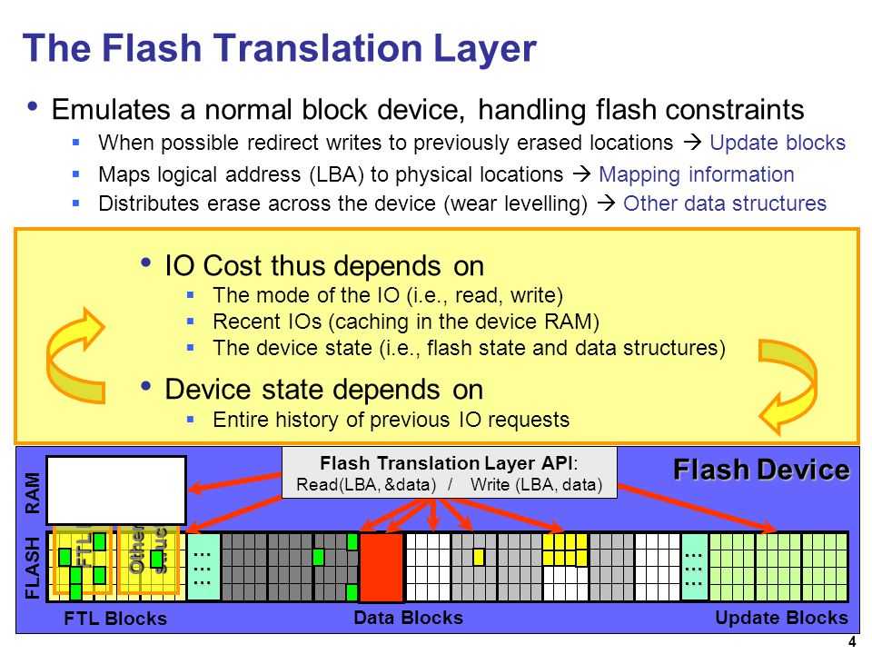 4 Read Write Erase RAM R/W Free Block Unfilled block Filled block When possible redirect writes to previously erased locations Update blocks The Flash Translation Layer Emulates a normal block device, handling flash constraints RAM FLASH FTL Blocks Update Blocks FTL MAP Other FTL structures Read(@100, …): Read(@101, …): Write(@900, …): Write(@200, …): D R R R FF D R FFDDDDDDDDDDDDDDD D Read(@100, …) Maps logical address (LBA) to physical locations Mapping information Distributes erase across the device (wear levelling) Other data structures FFDD Read(@101, …)Write(@900, …)Write(@200, …) Flash Device Flash Translation Layer API: Read(LBA, &data) / Write (LBA, data) … … ……… … IO Cost thus depends on The mode of the IO (i.e., read, write) Recent IOs (caching in the device RAM) The device state (i.e., flash state and data structures) Device state depends on Entire history of previous IO requests