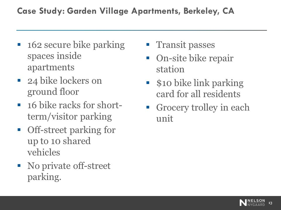 Case Study: Garden Village Apartments, Berkeley, CA 162 secure bike parking spaces inside apartments 24 bike lockers on ground floor 16 bike racks for short- term/visitor parking Off-street parking for up to 10 shared vehicles No private off-street parking.
