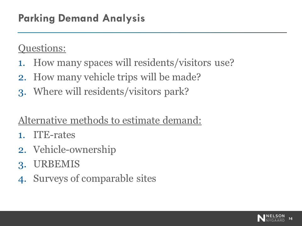 Parking Demand Analysis Questions: 1.How many spaces will residents/visitors use.