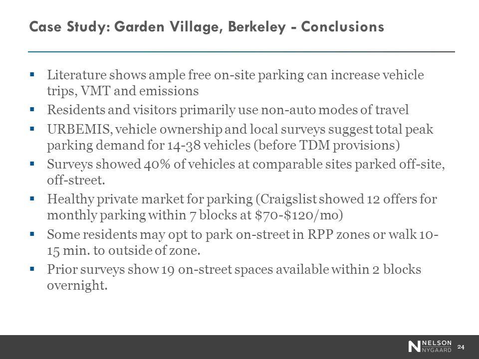 Case Study: Garden Village, Berkeley - Conclusions Literature shows ample free on-site parking can increase vehicle trips, VMT and emissions Residents and visitors primarily use non-auto modes of travel URBEMIS, vehicle ownership and local surveys suggest total peak parking demand for 14-38 vehicles (before TDM provisions) Surveys showed 40% of vehicles at comparable sites parked off-site, off-street.