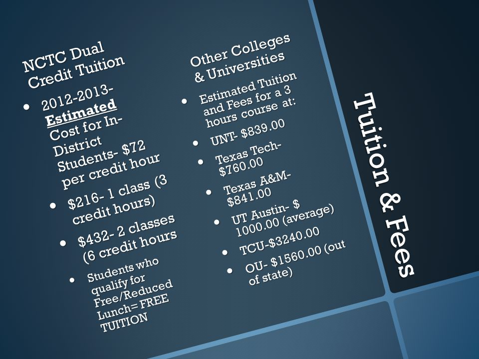 Tuition & Fees NCTC Dual Credit Tuition 2012-2013- Estimated Cost for In- District Students- $72 per credit hour $216- 1 class (3 credit hours) $432- 2 classes (6 credit hours Students who qualify for Free/Reduced Lunch= FREE TUITION Other Colleges & Universities Estimated Tuition and Fees for a 3 hours course at: UNT- $839.00 Texas Tech- $760.00 Texas A&M- $841.00 UT Austin- $ 1000.00 (average) TCU-$3240.00 OU- $1560.00 (out of state)
