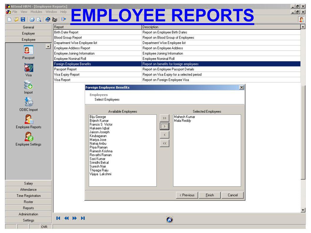 EMPLOYEE REPORTS