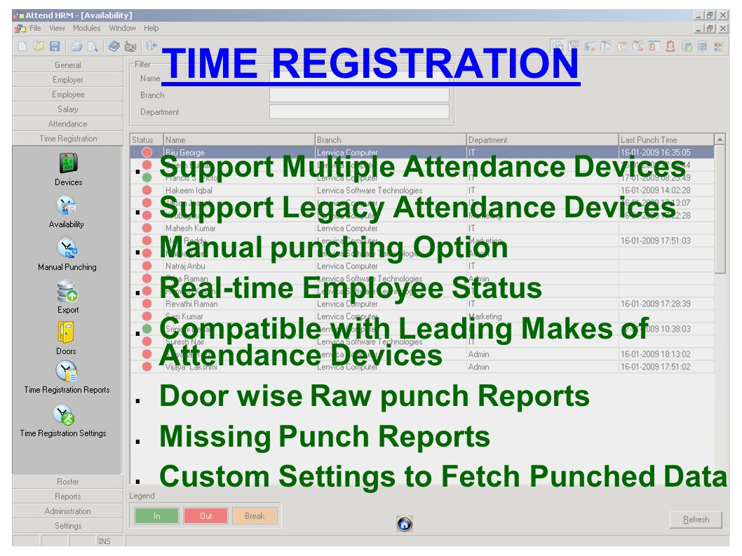 TIME REGISTRATION Support Multiple Attendance Devices Support Legacy Attendance Devices Manual punching Option Real-time Employee Status Compatible with Leading Makes of Attendance Devices Door wise Raw punch Reports Missing Punch Reports Custom Settings to Fetch Punched Data