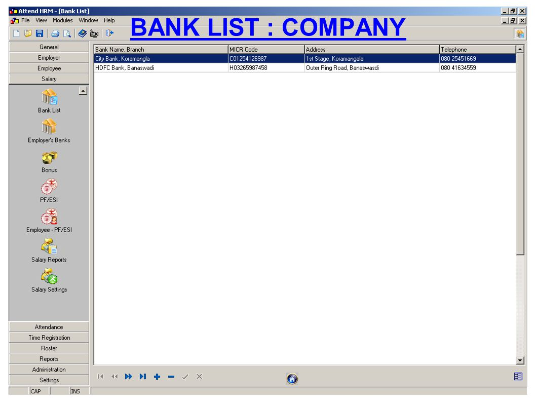 BANK LIST : COMPANY