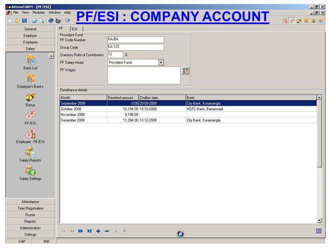 PF/ESI : COMPANY ACCOUNT