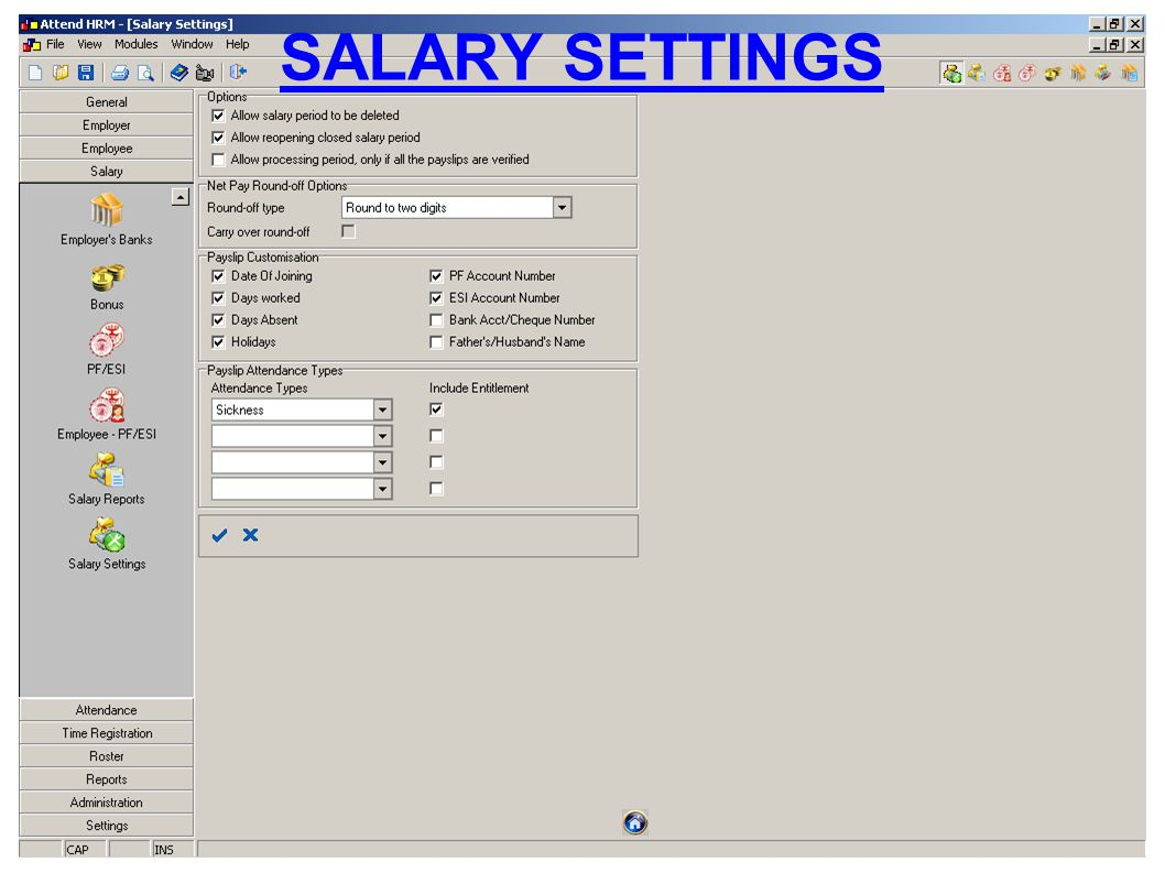 SALARY SETTINGS