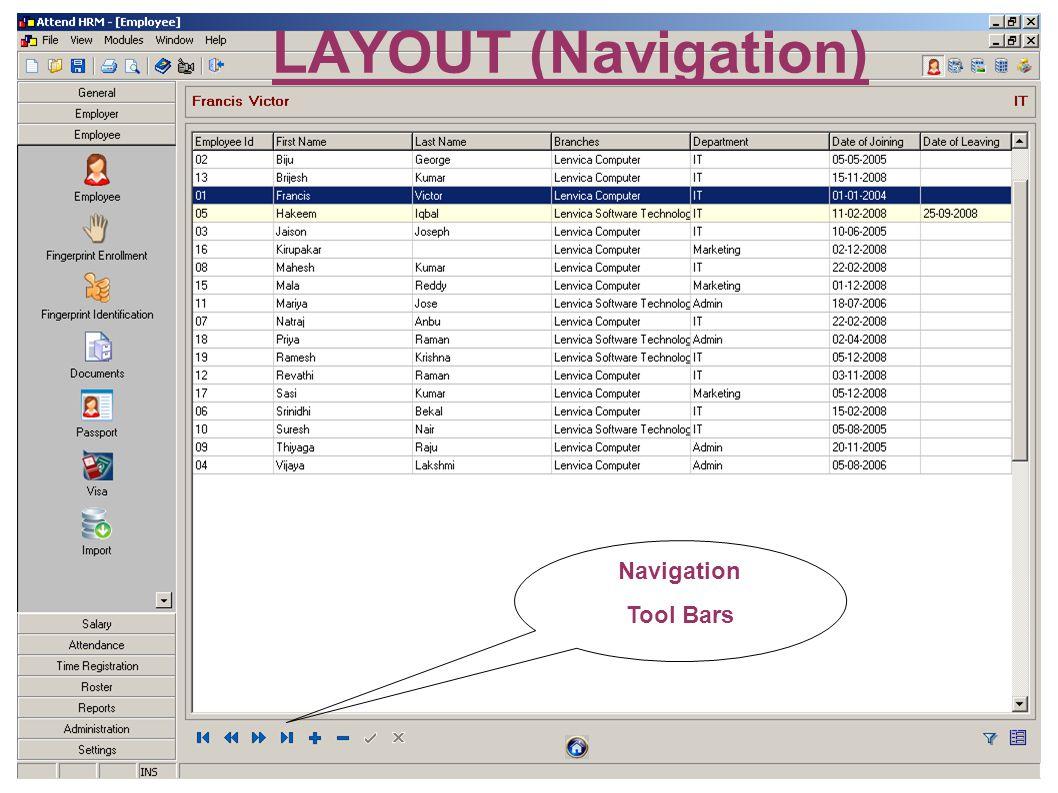 LAYOUT (Navigation) Navigation Tool Bars