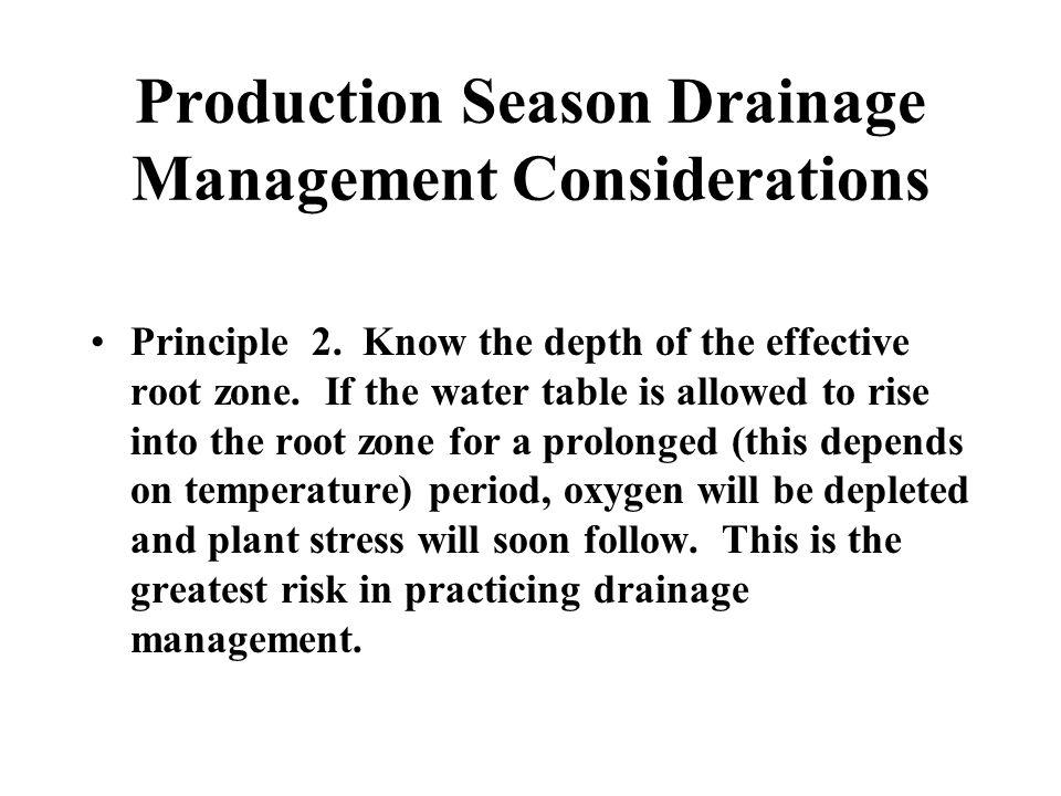 Production Season Drainage Management Considerations Principle 2.