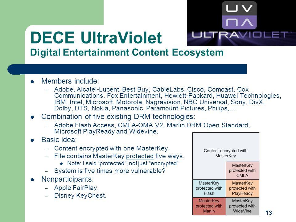 13 DECE UltraViolet Digital Entertainment Content Ecosystem Members include: – Adobe, Alcatel-Lucent, Best Buy, CableLabs, Cisco, Comcast, Cox Communications, Fox Entertainment, Hewlett-Packard, Huawei Technologies, IBM, Intel, Microsoft, Motorola, Nagravision, NBC Universal, Sony, DivX, Dolby, DTS, Nokia, Panasonic, Paramount Pictures, Philips,… Combination of five existing DRM technologies: – Adobe Flash Access, CMLA-OMA V2, Marlin DRM Open Standard, Microsoft PlayReady and Widevine.