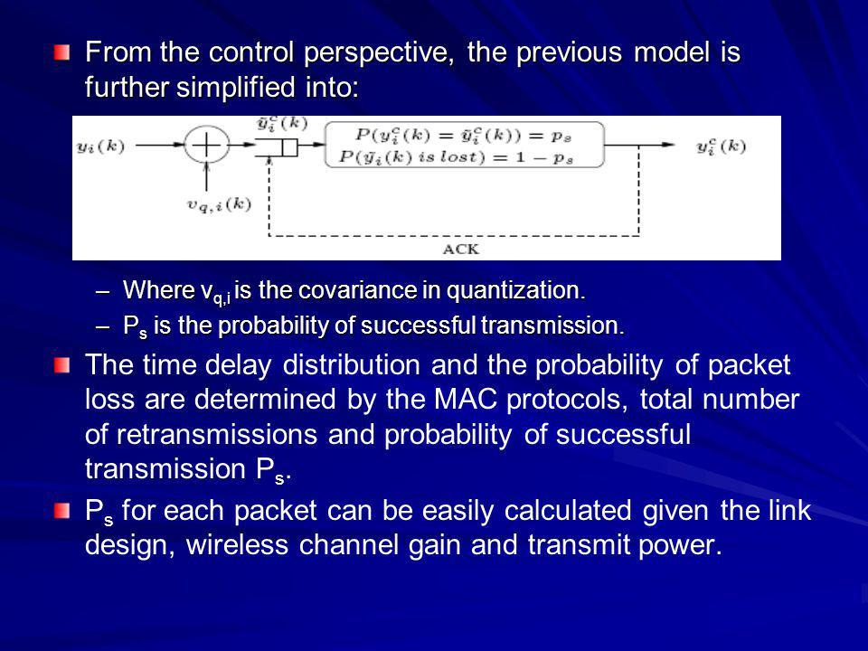 From the control perspective, the previous model is further simplified into: –Where v q,i is the covariance in quantization. –P s is the probability o