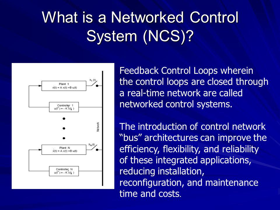 What is a Networked Control System (NCS)? Feedback Control Loops wherein the control loops are closed through a real-time network are called networked
