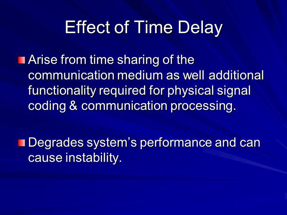 Effect of Time Delay Arise from time sharing of the communication medium as well additional functionality required for physical signal coding & commun