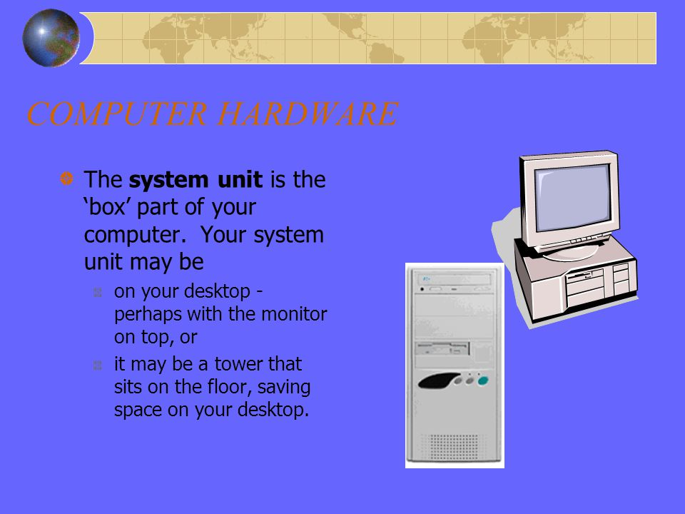 COMPUTER HARDWARE HARDWARE System Unit Monitor Mouse Keyboard Speakers