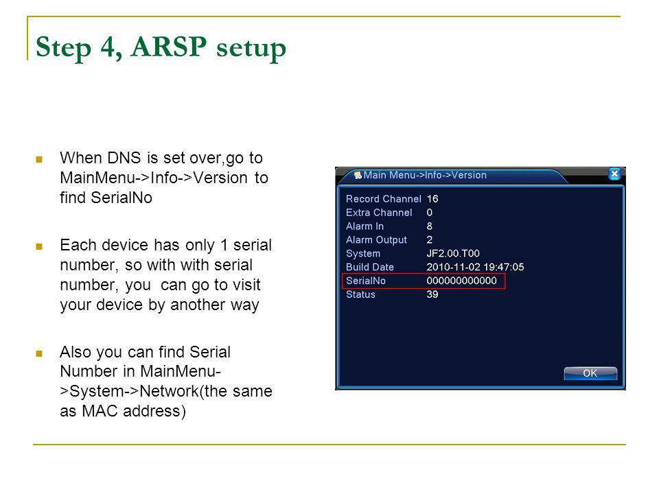 Step 4, ARSP setup After set ARSP,open http://xmsecu.com:8080/ with the serial number( eg.