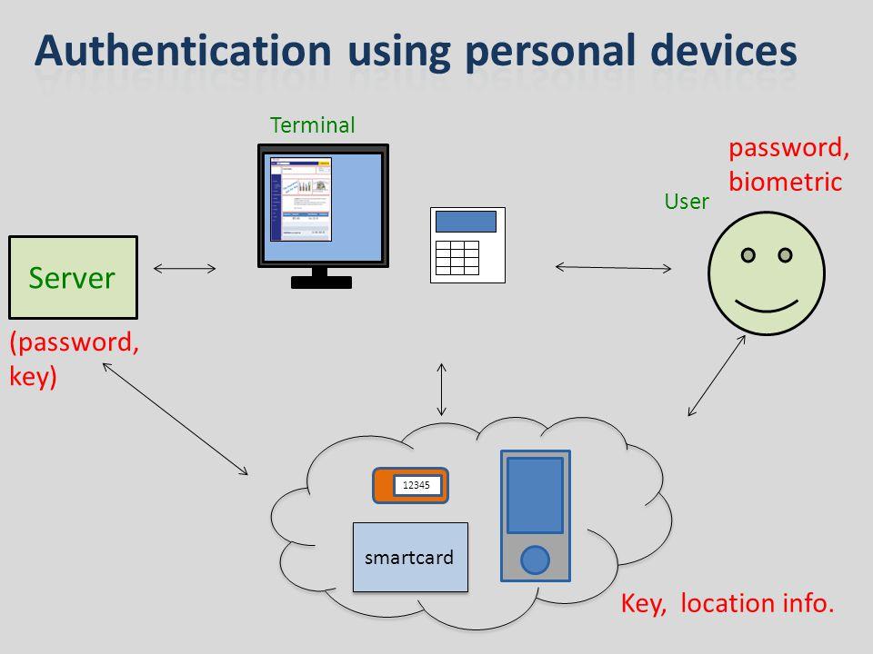 Server User ( k ) biometric k= H(Key, biometric) Terminal the biometric data are not stored in the server