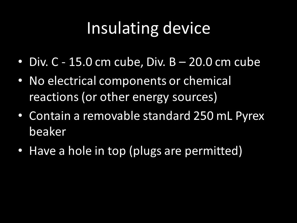 Insulating device Div. C - 15.0 cm cube, Div.