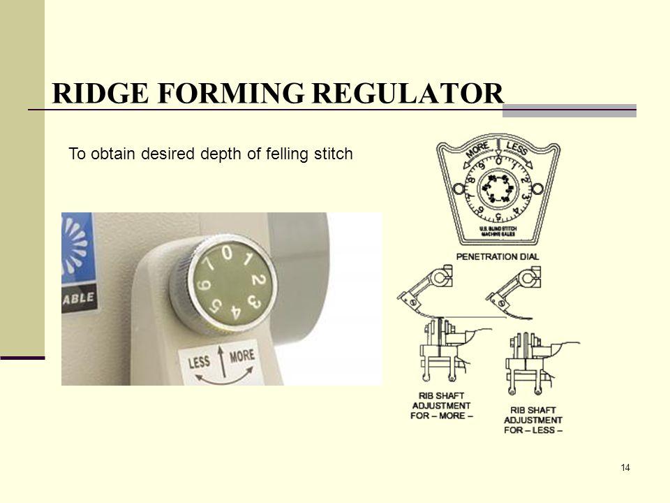 14 RIDGE FORMING REGULATOR To obtain desired depth of felling stitch
