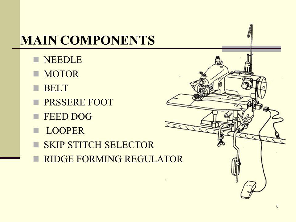 6 MAIN COMPONENTS NEEDLE MOTOR BELT PRSSERE FOOT FEED DOG LOOPER SKIP STITCH SELECTOR RIDGE FORMING REGULATOR