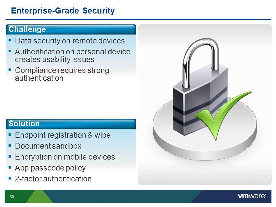 30 Enterprise-Grade Security Challenge Data security on remote devices Authentication on personal device creates usability issues Compliance requires strong authentication Solution Endpoint registration & wipe Document sandbox Encryption on mobile devices App passcode policy 2-factor authentication