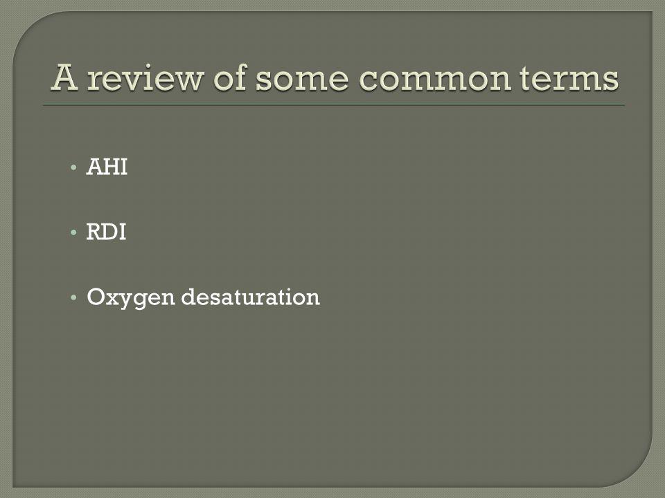 AHI RDI Oxygen desaturation