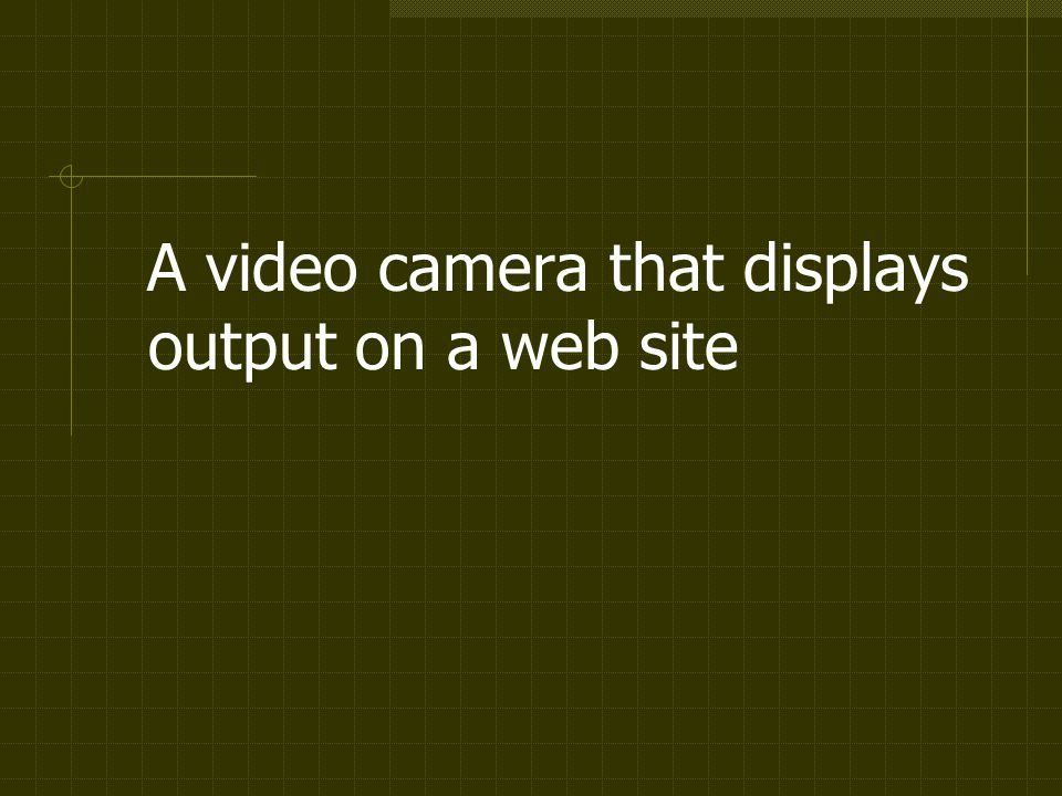 A video camera that displays output on a web site