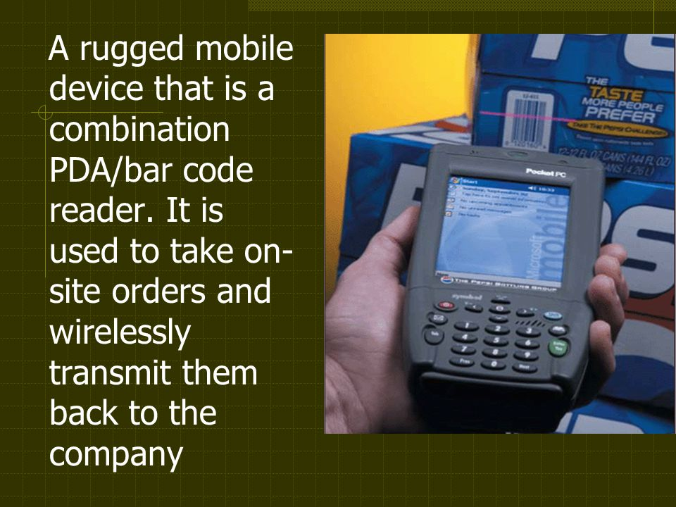 A rugged mobile device that is a combination PDA/bar code reader.