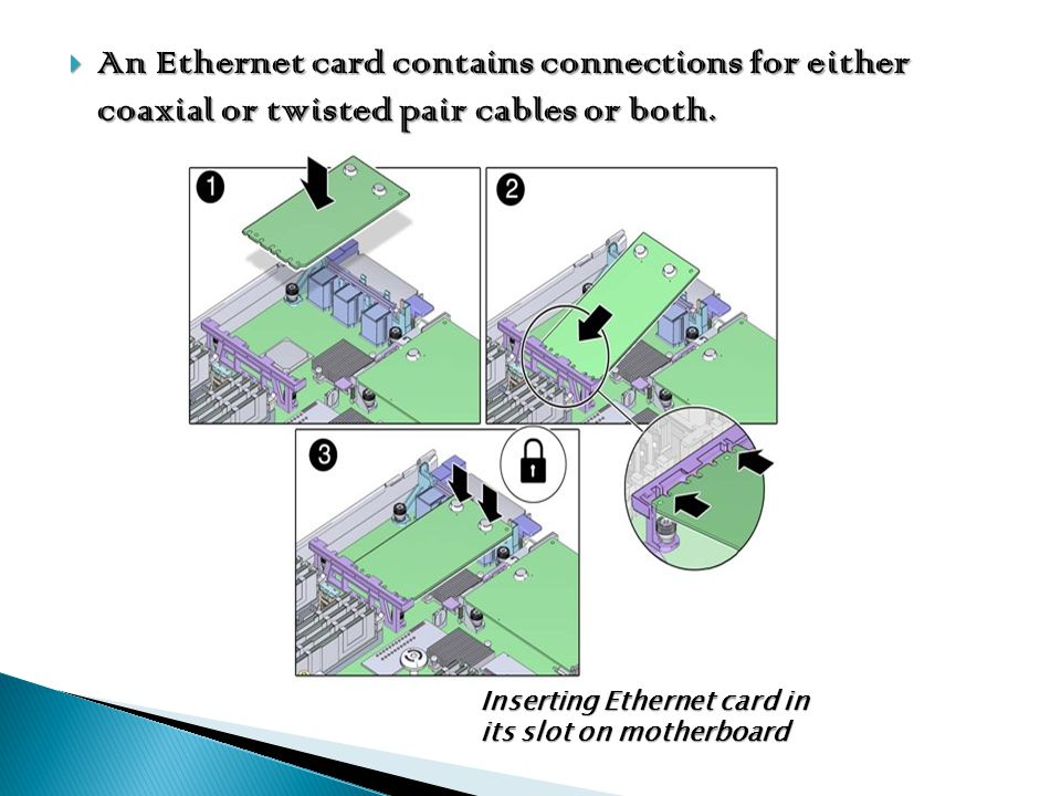 An Ethernet card contains connections for either coaxial or twisted pair cables or both. An Ethernet card contains connections for either coaxial or t