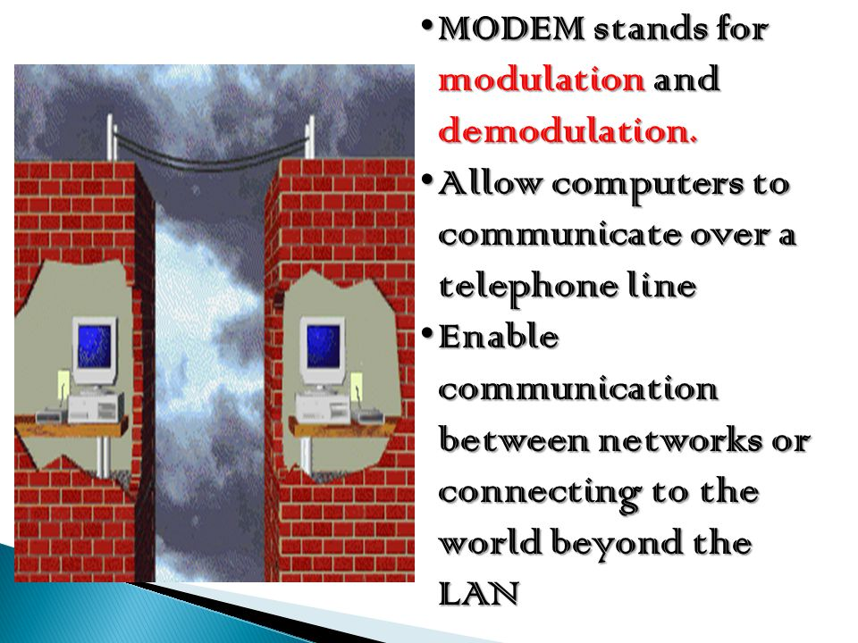 MODEM stands for modulation and demodulation.MODEM stands for modulation and demodulation. Allow computers to communicate over a telephone lineAllow c