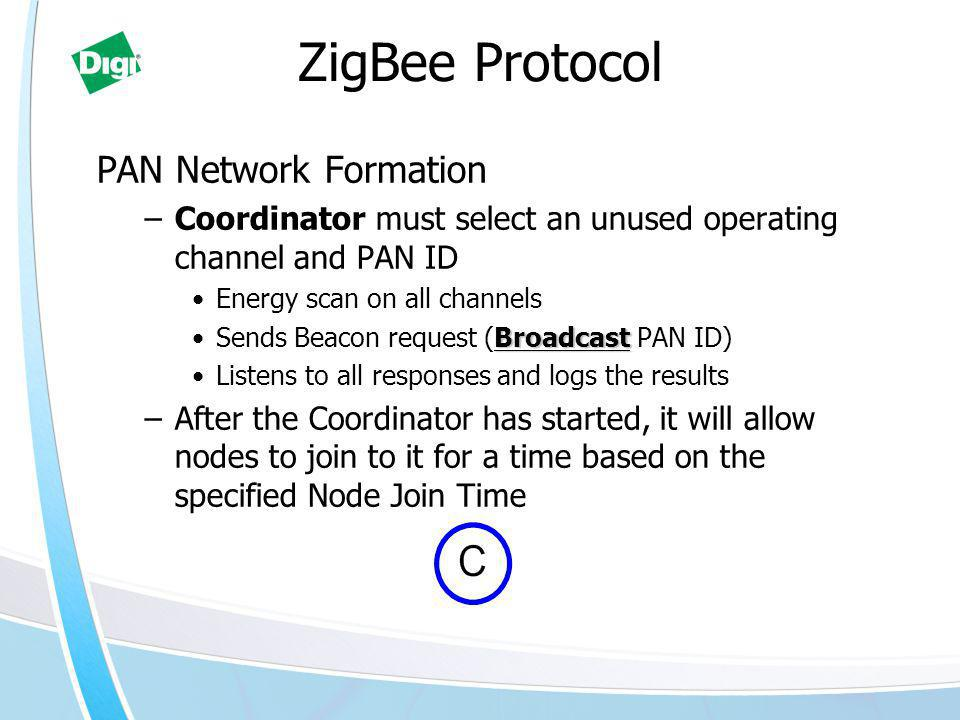 PAN Network Formation –Coordinator must select an unused operating channel and PAN ID Energy scan on all channels BroadcastSends Beacon request (Broadcast PAN ID) Listens to all responses and logs the results –After the Coordinator has started, it will allow nodes to join to it for a time based on the specified Node Join Time ZigBee Protocol